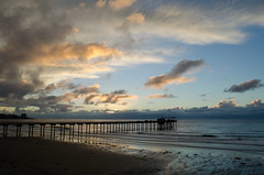 <p>Scripps Pier at sunset with clouds on Nov. 21, 2013</p>