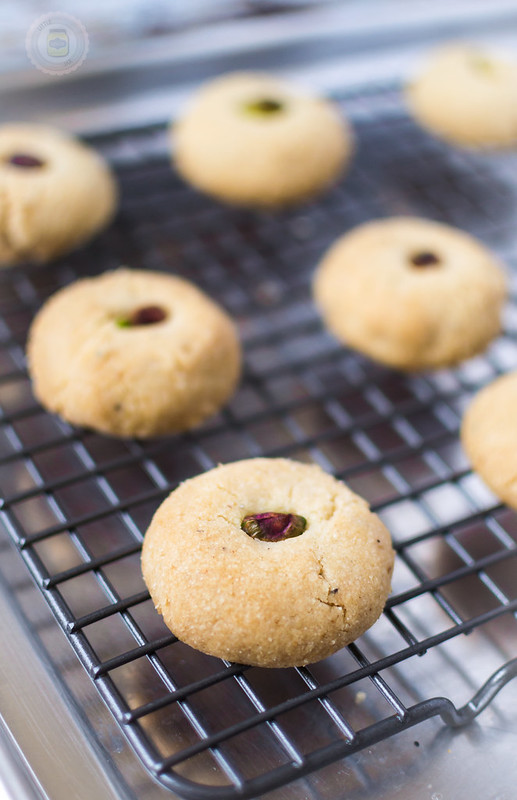 Nani's Pistachio Cardamom Cookies after being baked on a cooling rack