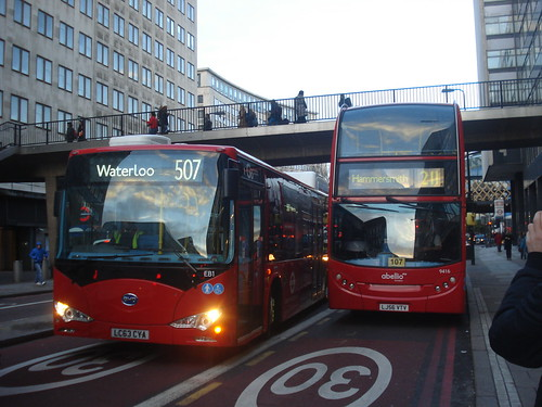 London General EB1 on Route 507 and Abellio 9416 on Route 211, Waterloo