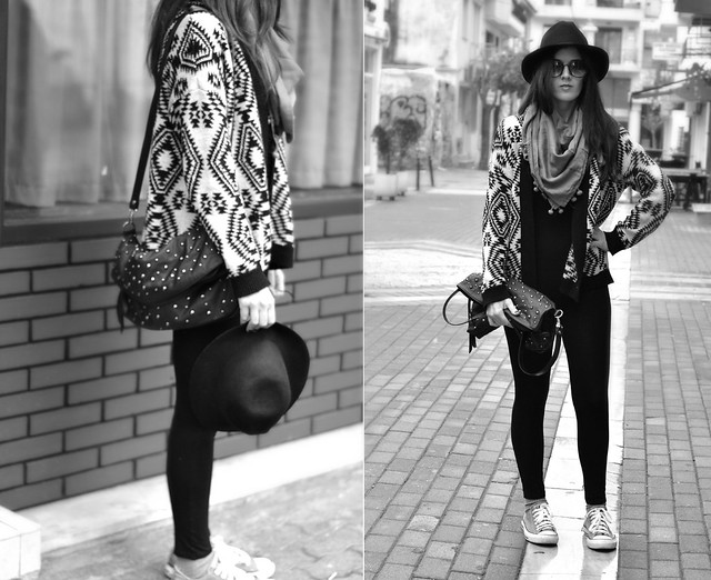 Aztec black and white cardigan