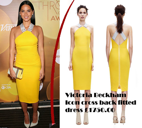 Yellow Victoria Beckham Icon cross back fitted dress