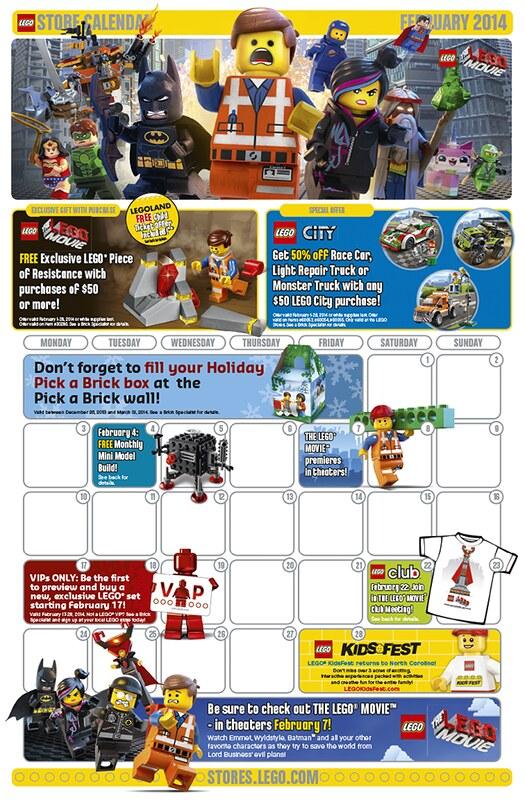 LEGO Shop February 2014 Calendar