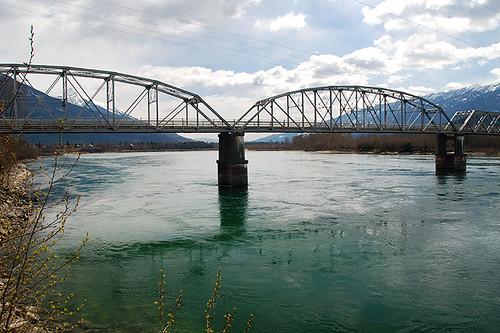 The Columbia River flows into Upper Arrow Lake near Revelstoke, Kootenay Rockies, British Columbia, Canada