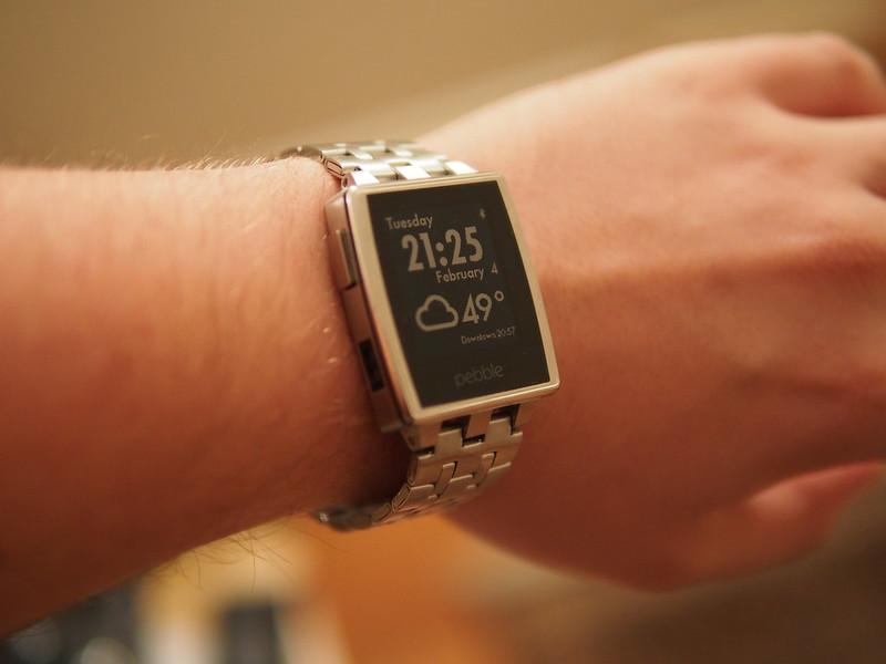 Pebble Steel on wrist