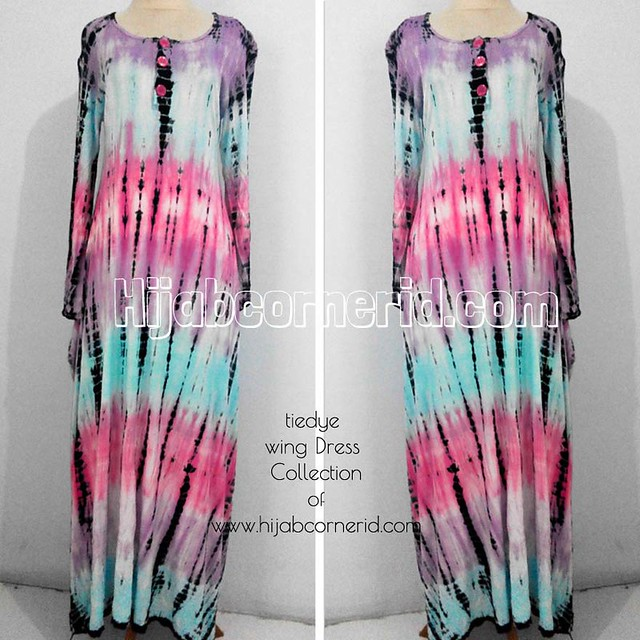 Wing Dress Tiedye Hijabcornerid Collection Blue n Pink Colour