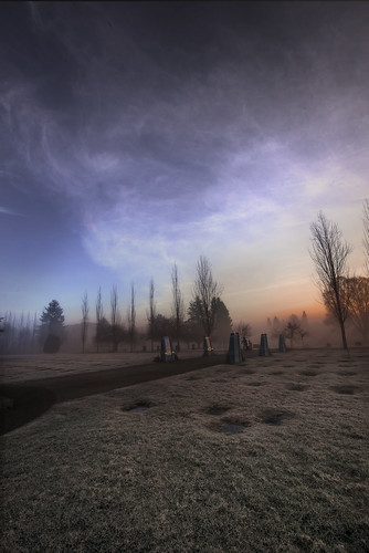 morning winter light sunset sky mist canada cold color colour art nature cemetery grave bicycle misty fog vancouver clouds sunrise landscape am nikon cyclist bc seasons path britishcolumbia foggy wideangle frosty riding nikkor gravestones bikeriding multipleimages imagestacking d800e