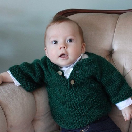 My cousin's little guy wearing a sweater I made him. BDE! #100happydays Day 34