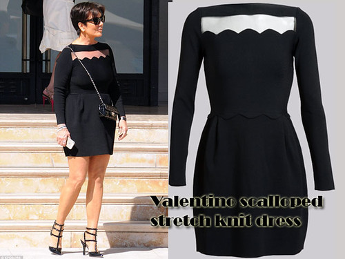 Valentino scalloped stretch knit dress: Scallop Trend