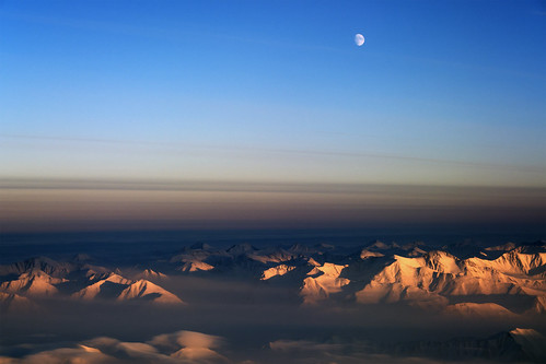 Moon over northeast Greenland