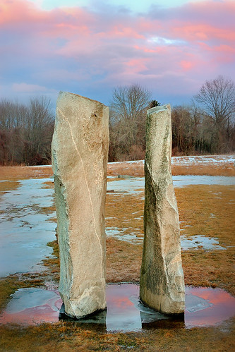 sunset reflection stone