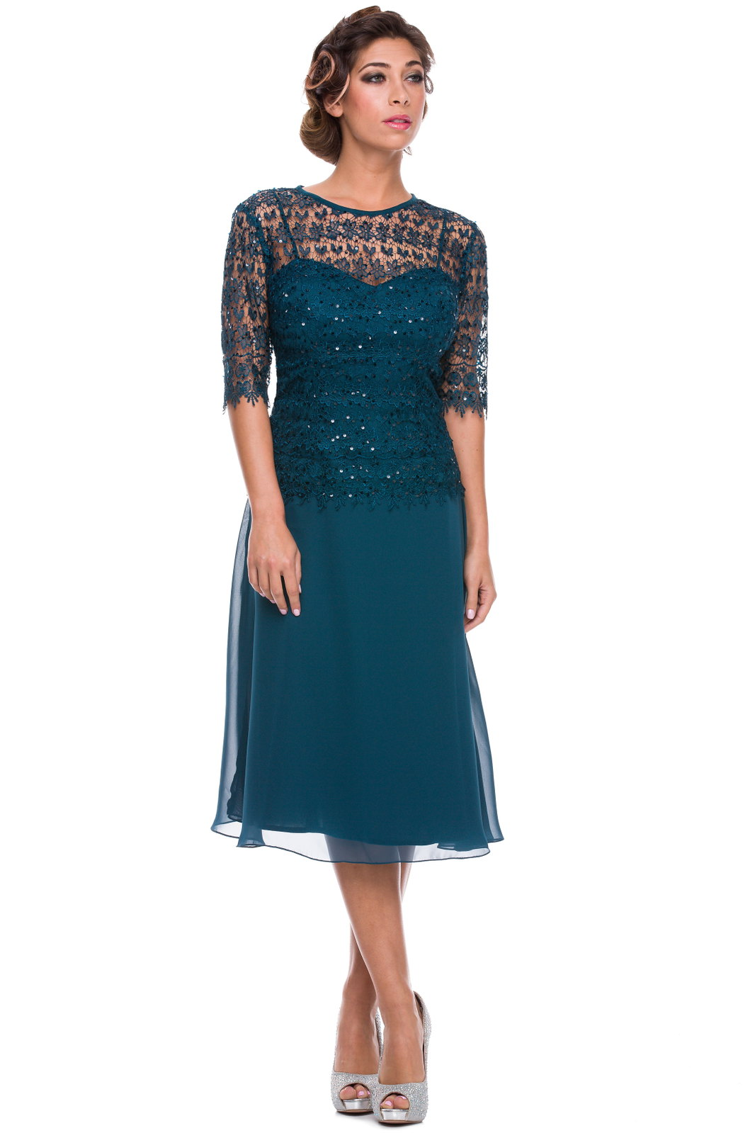 Chiffon vintage lace a line skirt mother of bride wedding for What kind of dress do you wear to a wedding