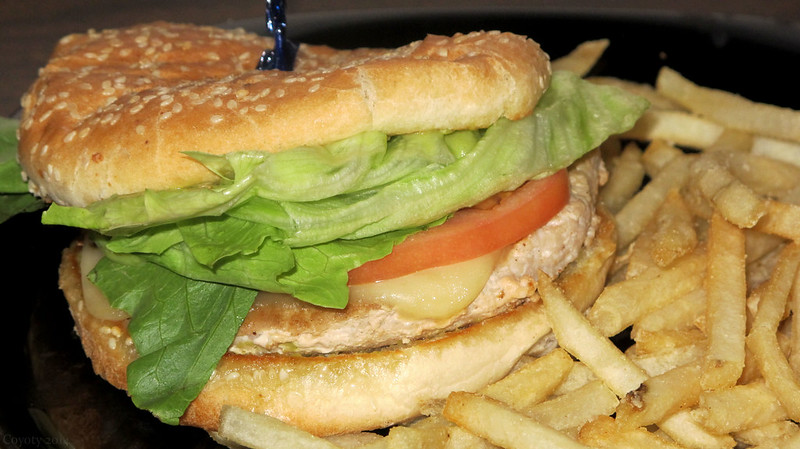 Guacamole and pepperjack turkey burger with fries