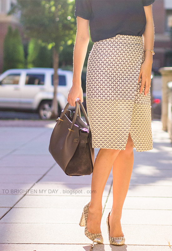navy tee, brocade patterned wrap skirt, tweed and glitter pumps