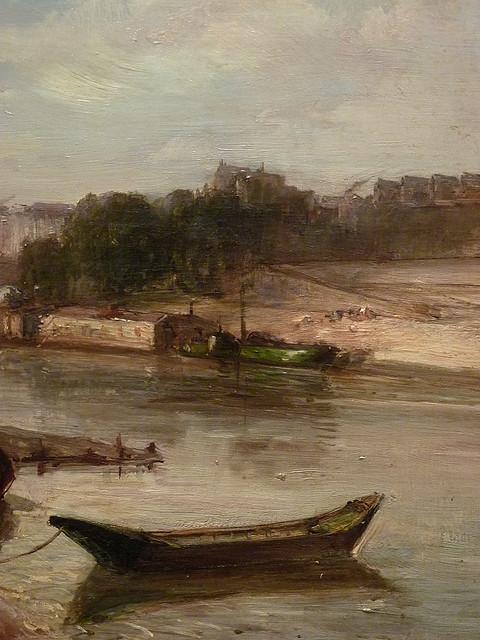 JONGKIND Johan Bartold,1853 - Vue de la Seine à Paris, le Pont-Royal et le Pavillon de Flore (Custodia) - Détail 12