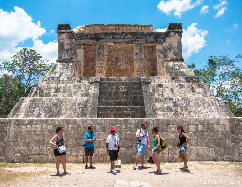 Members of my G Adventures group stand in front of the Templo del Hombre Barbado (Temple of the Bearded Man) located at the northern end of the Great Ball Court