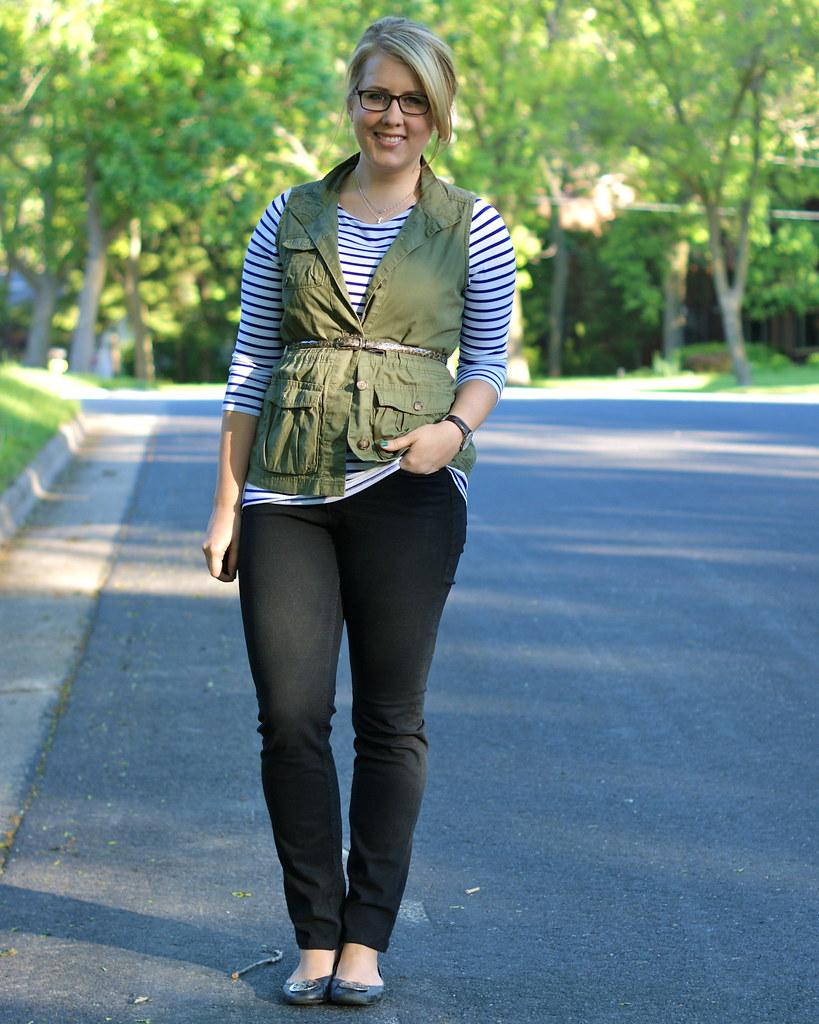 cargo vest + stripes