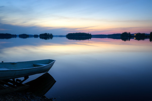 blue sunset summer lake beach water clouds finland landscape island dawn boat peaceful calm rowboat serene hdr kuopio northernsavonia