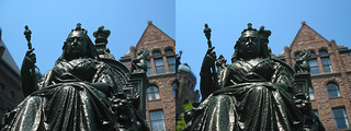 Image of Queen Victoria. street city sculpture toronto ontario canada streets building art statue buildings stereogram 3d crosseye hand statues parliament victoria canadian queen holy stereo stereograph grenade magiceye sculptures handgrenade crossview