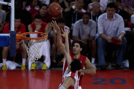 July 1st, 2013 - Luis Scola puts up a shot in the Yao Foundation charity game in Beijing