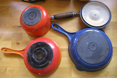 More Le Creuset pans through the years: skillet, omelet pan, saucepan