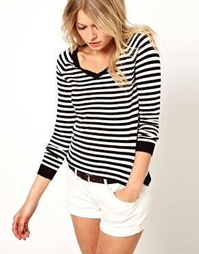 Mango V-Neck Stripe Jumper