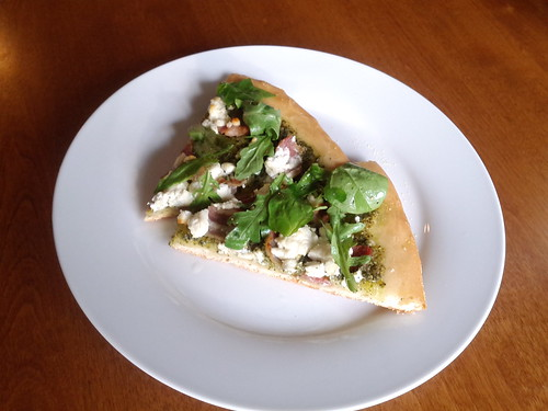 Bacon Goat Cheese Arugula Pizza