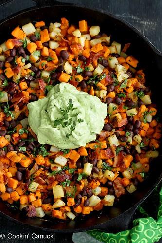Sweet Potato Hash Recipe with Creamy California Avocado Sauce | cookincanuck.com #breakfast #avocado #sweetpotato