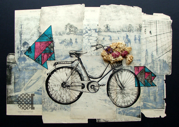 mixed media-bicycle illustration