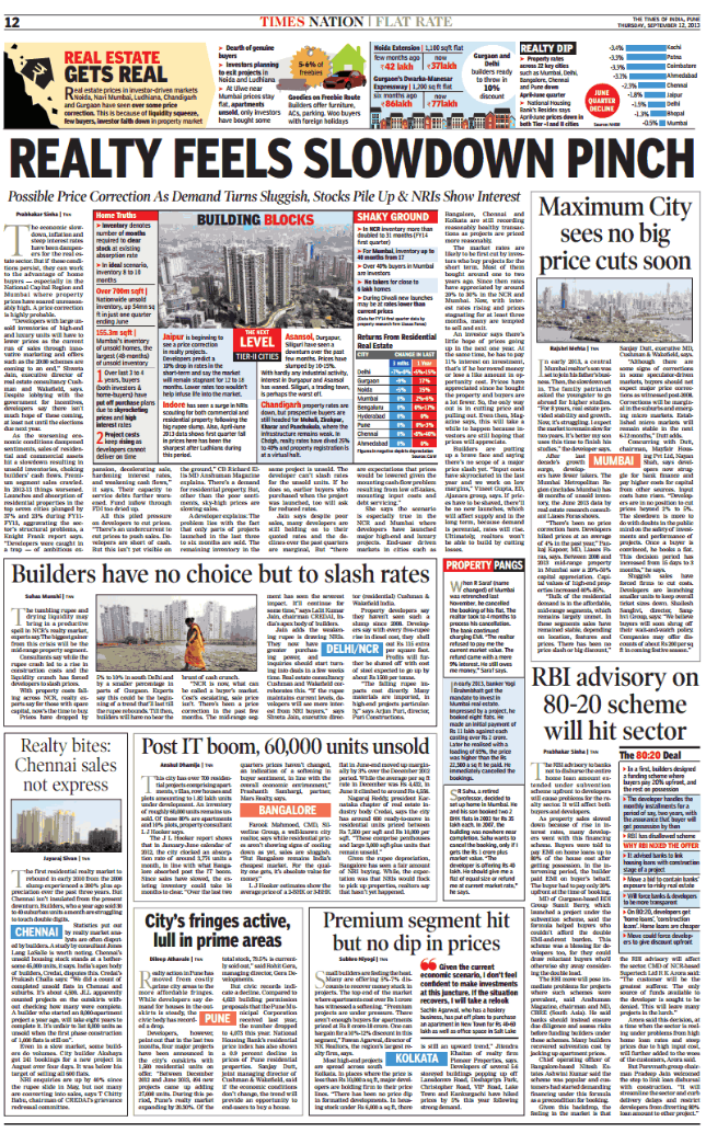 Realty Feel Slowdown Pinch (TOI Pune 12-9-2013)