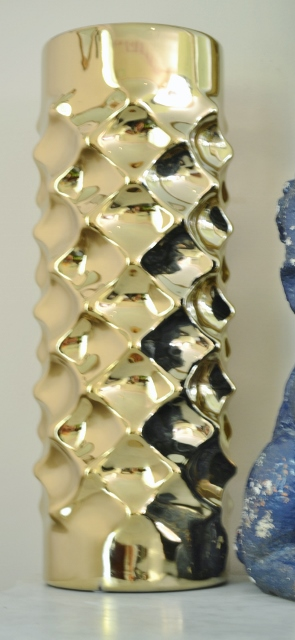 geometric gold vase