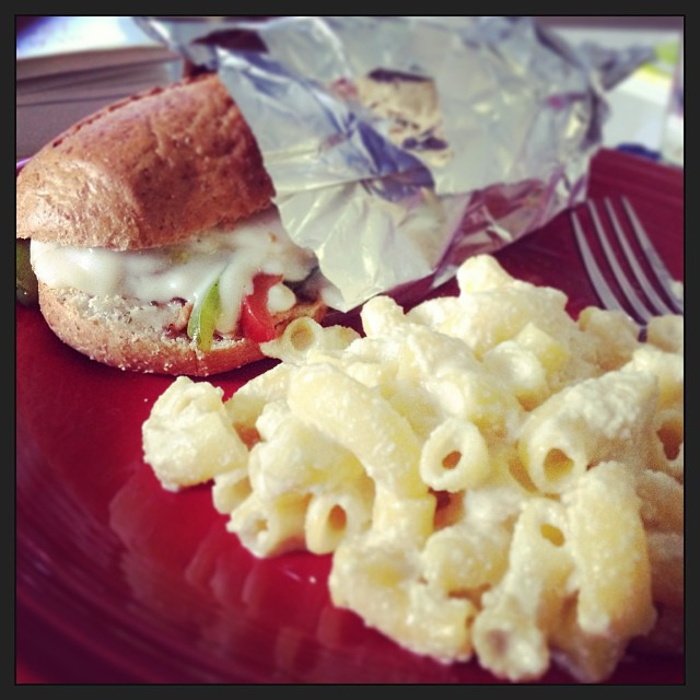 Philly cheesetofu sandwhich & mac+cheese (cashew) = best Saturday lunch ever. #becausejayisthebest #vegan #whatveganseat