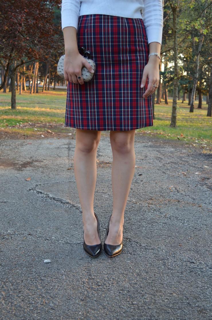 check skirt white top
