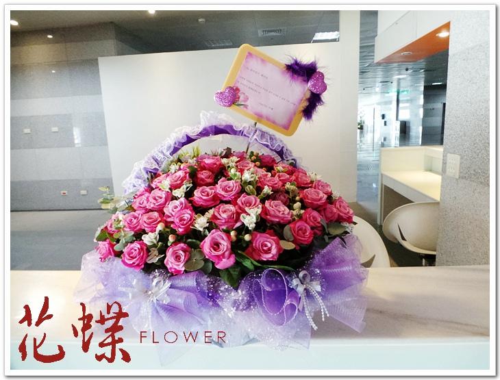 new最新款花艺设计紫玫瑰花篮~包装色系气质典雅