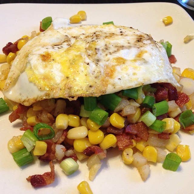 Almost as good as when @bethanyactually made it for me. (Bacon Corn Hash from Smitten Kitchen.)