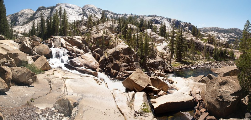 Panorama shot of smaller falls and rapids between Leconte Falls and California Falls on the Tuolumne River