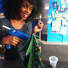 Tunisha decorates the tree
