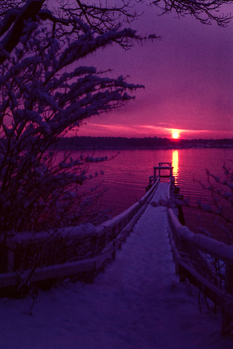 morning winter sun snow water sunrise dock maine slide yarmouth ektachrome princespointroad