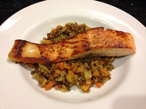 Ina Garten's recipe for salmon and lentils