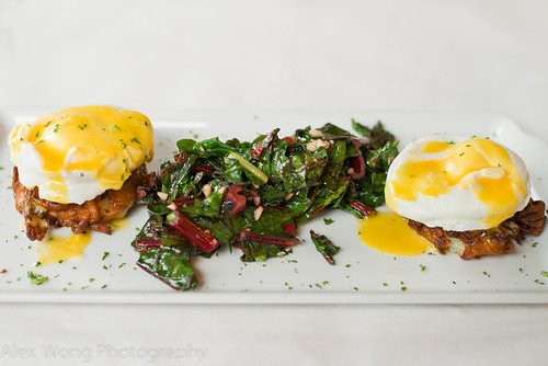 Crabcake Eggs Benedict and Swisschard