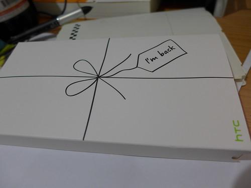 HTC 送修回來的手機包裝盒