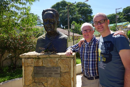 Me and my dad and the statue of Padre Eustaquio