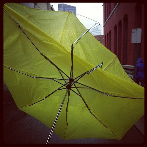 Our cheapy umbrella got wrecked on this rainy and windy Saturday morning in downtown Cincinnati..,