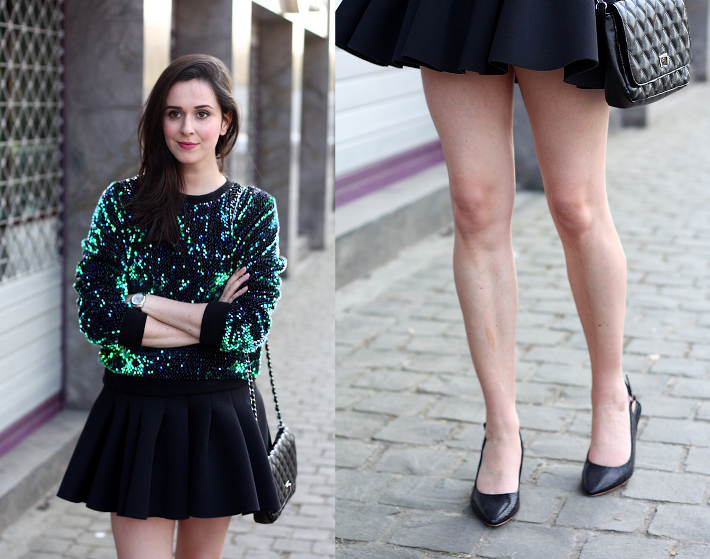 Green Sequined Sweater, Neoprene Skater Skirt | The Styling ...
