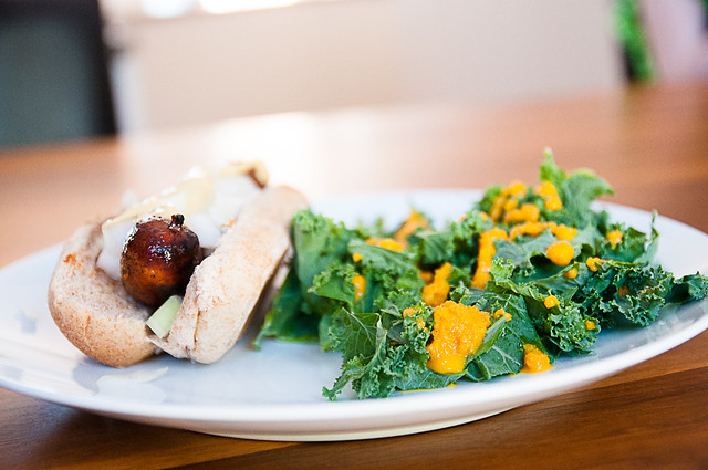 sausage with kale and carrot ginger dressing