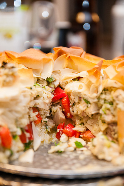 chicken, rice and vegetable phyllo pie
