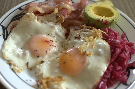 Bacon, eggs, sauerkraut & avocado