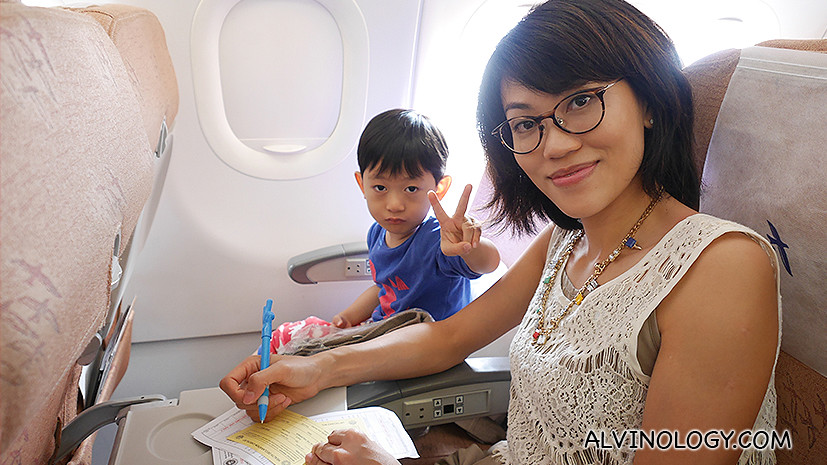 Rachel and Asher on the SilkAir plane
