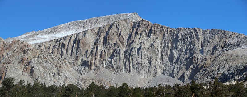 Zoomed-in view of Mount Langley and the headwall near Cottonwood Lake 5. There was a dusting of snow from yesterday!