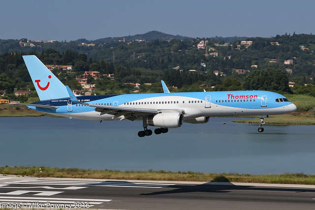 G-OOBH - 1999 build Boeing B757-236, inbound on Runway 35 at Corfu