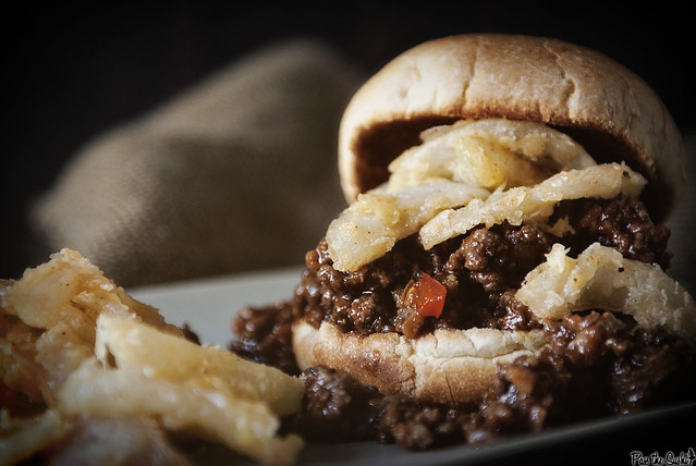 Sloppy Joes with Fried Onions via GirlCarnivore.com